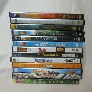 Lot of 13 Family Friendly DVD's Lorax Tooth Fairy Hook Cat in the Hat Jumanji