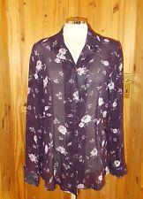 KALEIDOCSOPE dark purple beige floral chiffon long sleeve blouse top BNWT 12 40