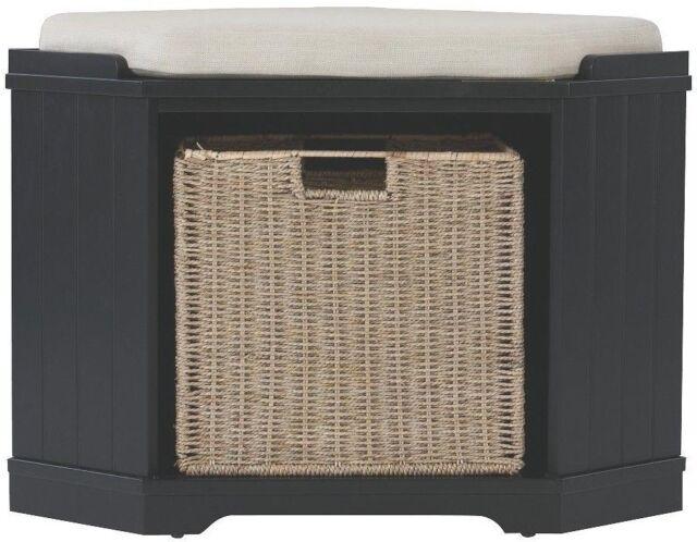Pleasant Home Decorators Collection Storage Bench Seat Upholstered Basket Black Furniture Machost Co Dining Chair Design Ideas Machostcouk