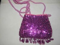 Small Sequin Purse Evening Bag Fuscha Hot Pink Fringe Prom Formal Glittering