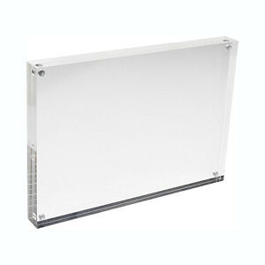Magnetic-Acrylic-Photo-Frame-5-6-7-8-inch-Free-Standing-Transparent-Clear-Block