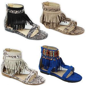 Para-Mujer-Informal-de-Verano-Borla-Tobillo-Sandalias-De-Tiras-plana-nuevos-zapatos-senoras-talla-3