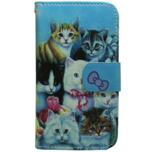 1x Cat Family Wallet Card Holder Flip case cover For Various Mobile Phone