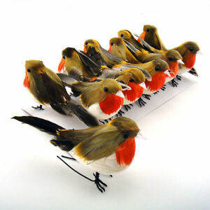 24x christmas robin feather birds artificial xmas hanging for Artificial birds for decoration