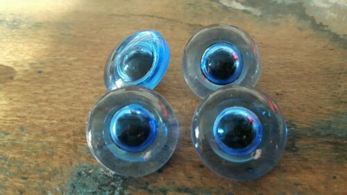 ♥Nr A19 Alte Glasaugen Tieraugen blau Puppille handbemalt m.Öse 20 mm 4 St.♥