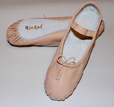 Nuevo Adultos Damas Mujeres Hombres De Piel Rosa De Ballet Danza Zapatillas Gimnasia Zapatos
