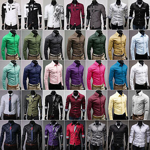 Mens-Slim-Fit-Business-Shirt-Long-Sleeve-Dress-Shirts-Collar-Casual-T-Shirt-Tops