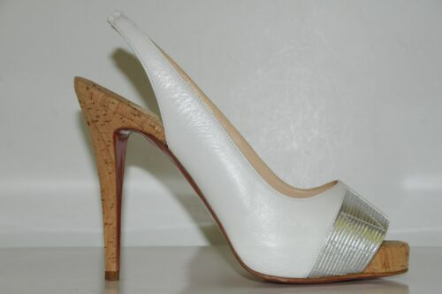 Moyen Prive Chaussures Plateforme Christian Argent Nouveau Talons Louboutin Blanc Sling Liège SMqLUzpGV