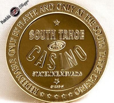 $1 PROOF-LIKE BRASS SLOT TOKEN HARVEY/'S CASINO 1965 FM MINT LAKE TAHOE NEVADA