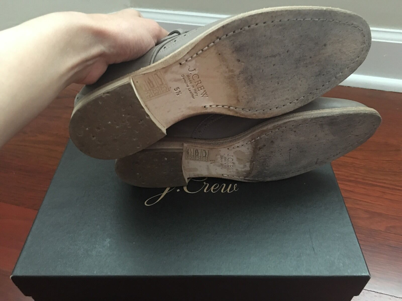 JCrew Collection Perforated Monk Strap 5.5 Loafers, Wet Cobblestone, 5.5 Strap a7031d
