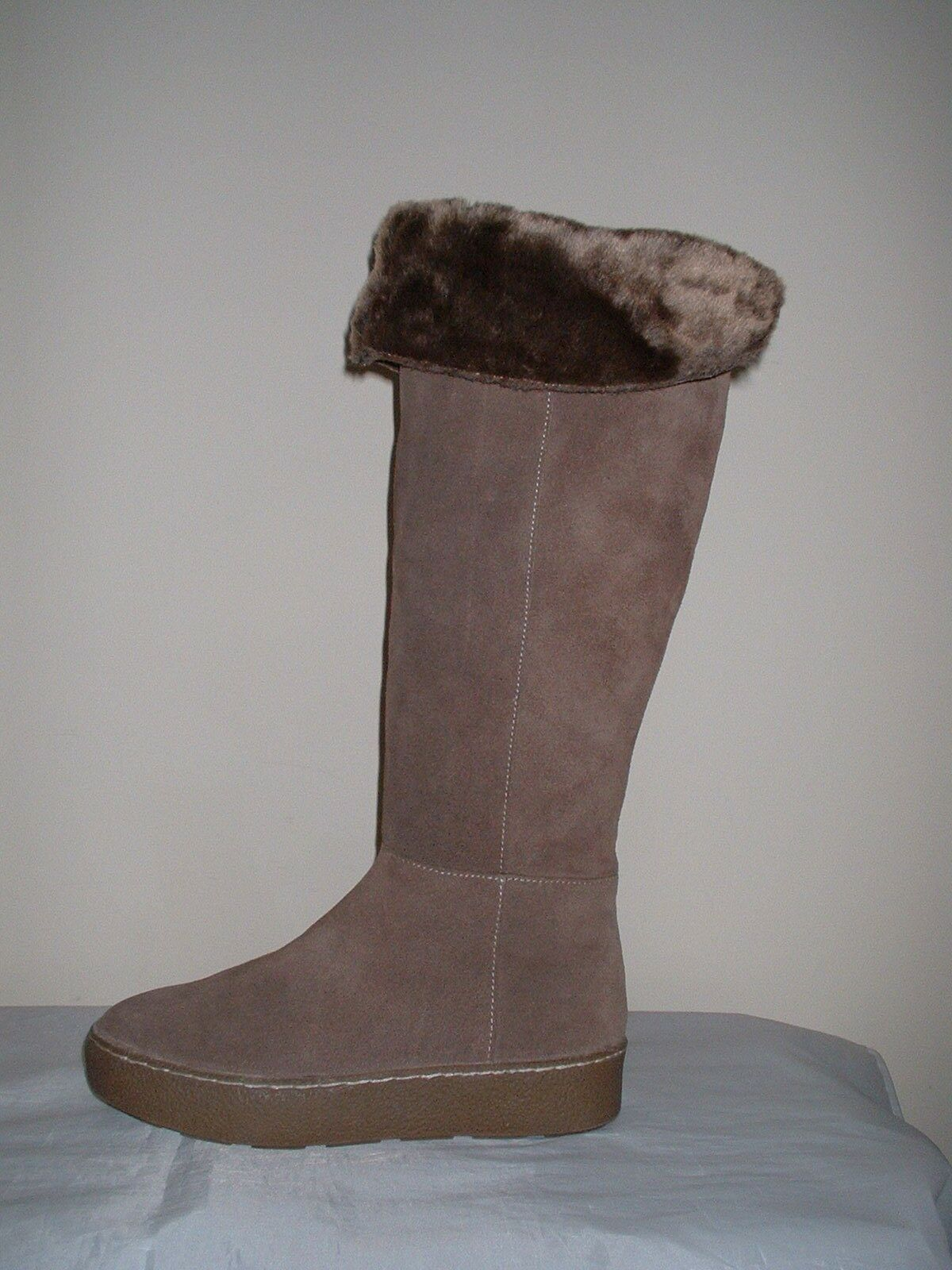 BROWN GENUINE SUEDE LEATHER FAUX FUR LINED KNEE HIGH 6/39 FLAT ZIP Stiefel SIZE 6/39 HIGH 3c164d