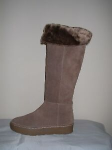 Leather High Brown 41 Fur Faux Genuine Zip Size Knee Lined 8 Boots Suede Flat Aqp0aqxE
