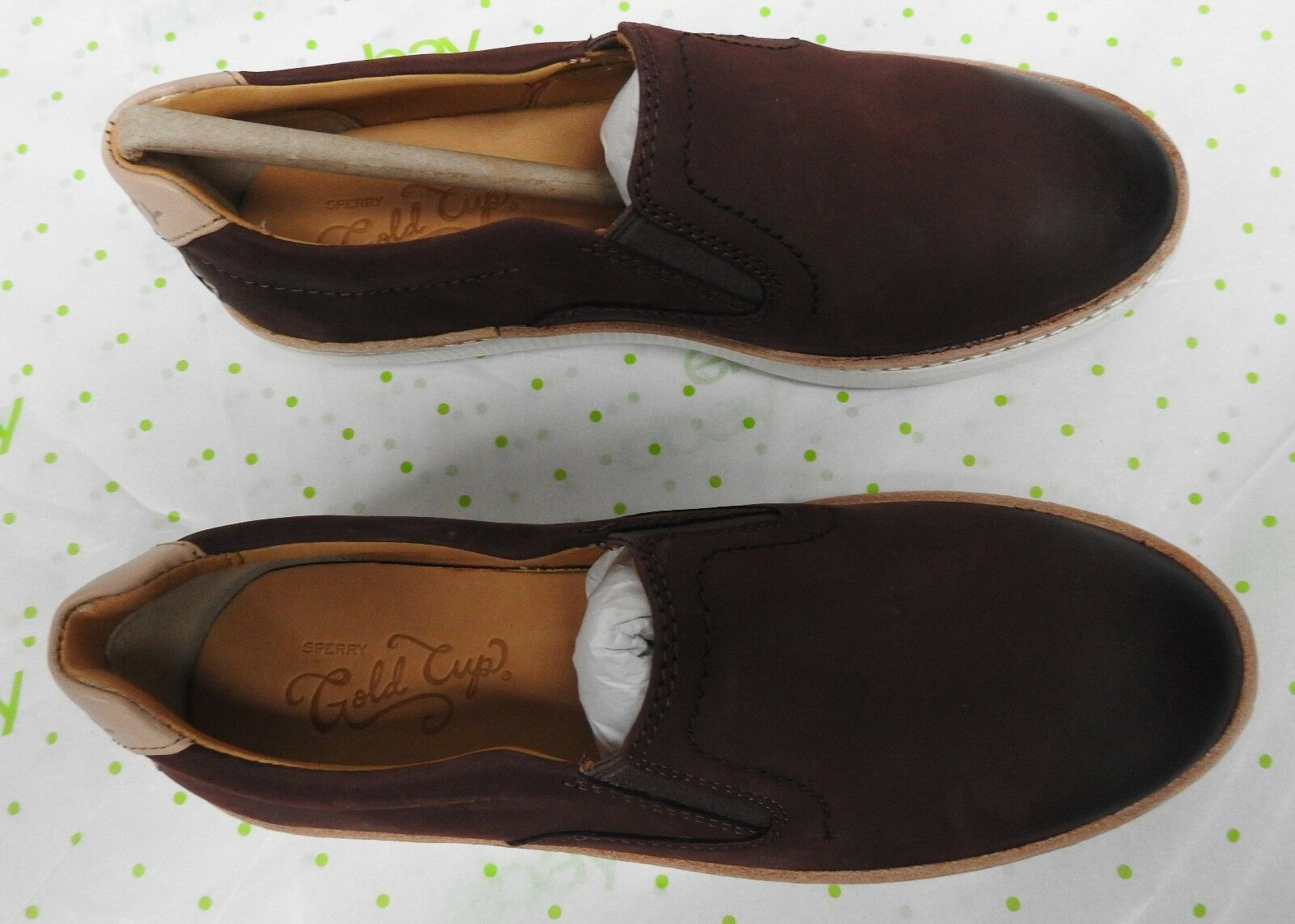 Sperry Top Sider women's size 5 M Dark Brown Rey gold cup shoes leather loafers