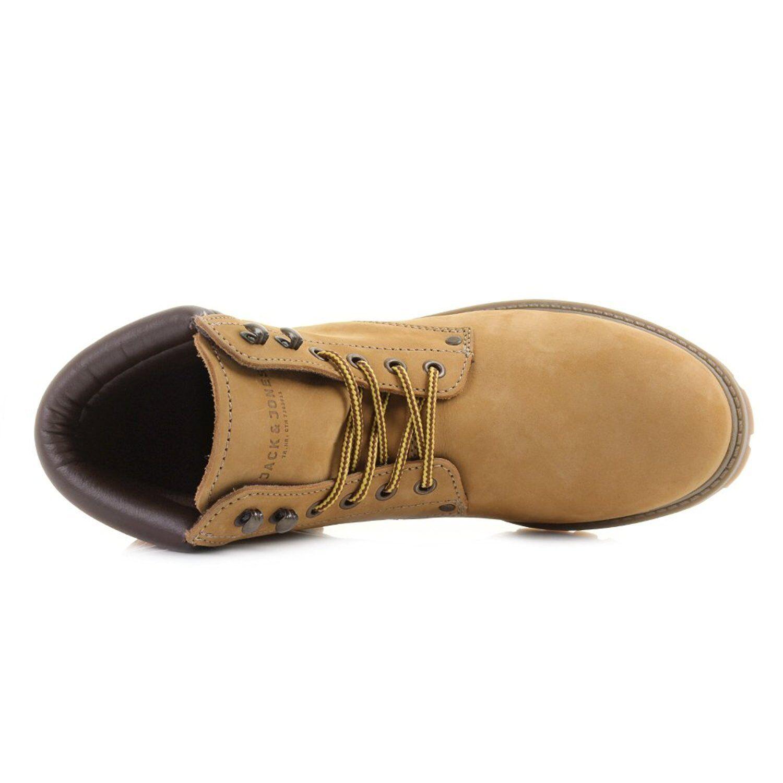 JACK & JONES Nubuck Stoke Leder Stiefel High Top Boot Schuhes Honey Beige Biker Boot Top 4733cc