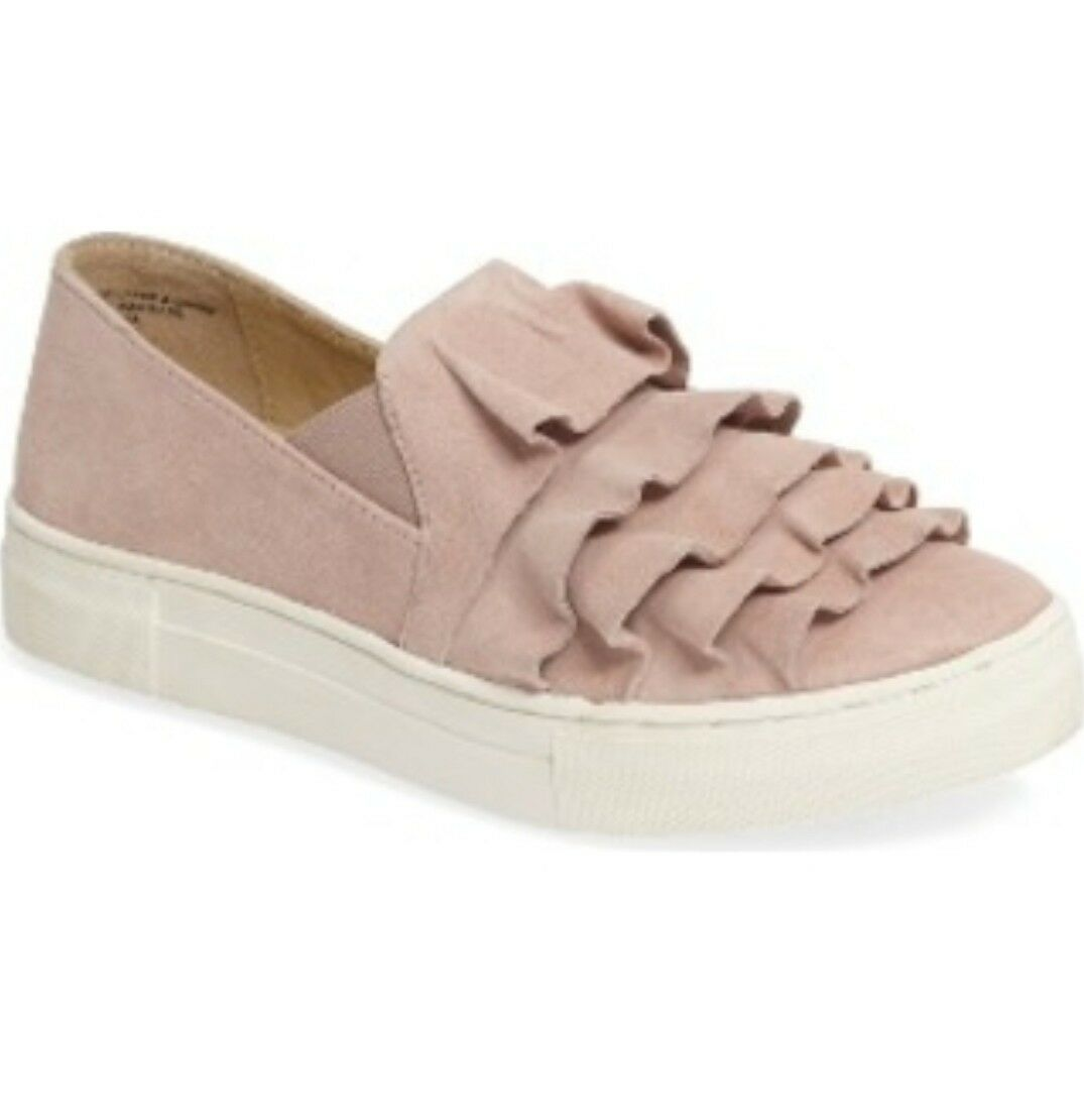 New Seychelles Quake Ruffle Suede Slip-On Sneakers Womens 10 Blush Pink Shoes