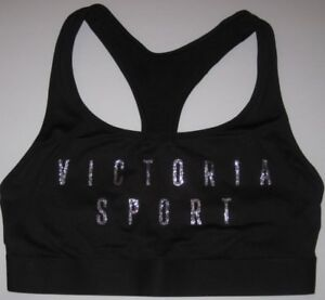 020b125847 Details about NWT VICTORIA S SECRET BLACK SILVER BLING GLITTER PLAYER RACERBACK  SPORTS BRA GYM
