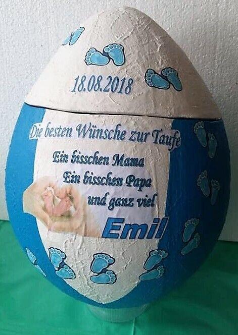 """12 x Gastgeschenk Rosenkranz im Ei /""""BLAU/"""" Taufe Geburt Hochzeit Kommunion"""