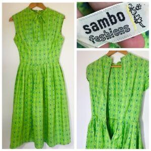True-Vintage-1950s-1960s-Sambo-Fashions-Cotton-Green-Floral-Dress-UK-10-12-Pleat