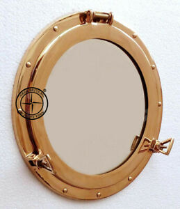 Vintage-Solid-Brass-Porthole-15-034-Maritime-Nautical-Ship-Boat-Window-Wall-Mirror