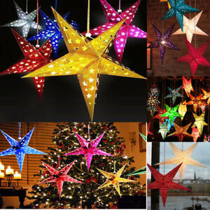 1pc Home Decor Christmas Tree Ornament Party Hanging Xmas Tree Random Color Pentagram Lamp Shade Paper Star Decorations Home & Garden