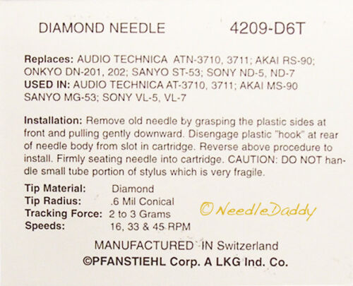TURNTABLE NEEDLE FOR Akai RS-90 MS-90 DN-201 DN-202 ST-53 MG-53 209-D6T