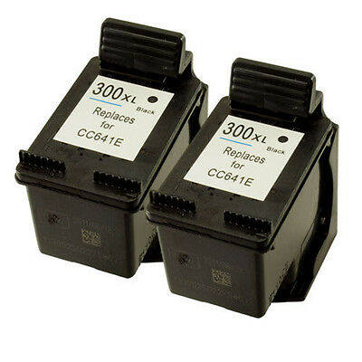 2x HP 300XL Black CC641EE Refilled Ink Cart for Photosmart C4610 C4635 C4640