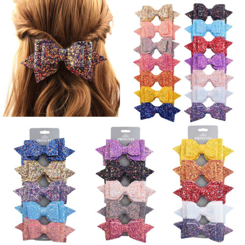 US 5Pcs Hair Bows Band Boutique Alligator Clip Fashion Sequin For Girl Baby Kids