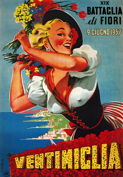 TV66 Vintage 1950's A4 Ventimiglia Italy Italian Travel Tourism Poster Re-print