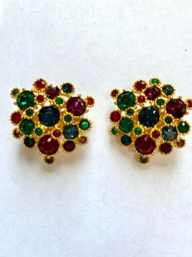 Vintage Gold Tone Joan Rivers Jewel Tone Snowflake
