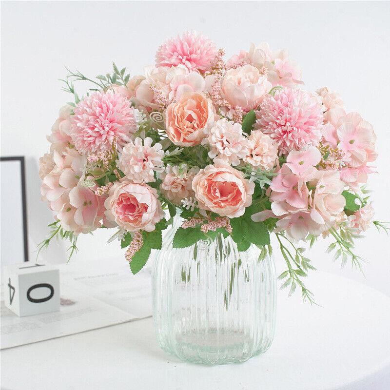 Home Decoration - Silk Peony Artificial Fake Flowers Bunch Bouquet Home Wedding Party Garden-Decor