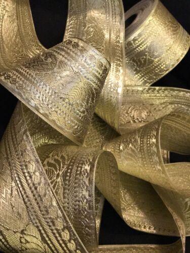 10 Yard Zari Light Golden Tape Ribbon Indian Saree Wide Border Fringe SewOn Trim