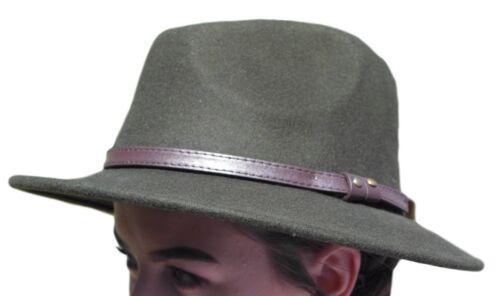 Haute Qualité Vert olive Large Bord 100/% Laine Feutre Fedora Trilby Chapeau-Petit