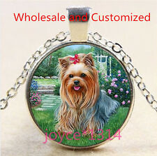 Yorkshire Terrier Cabochon Tibetan silver Glass Chain Pendant Necklace #4850