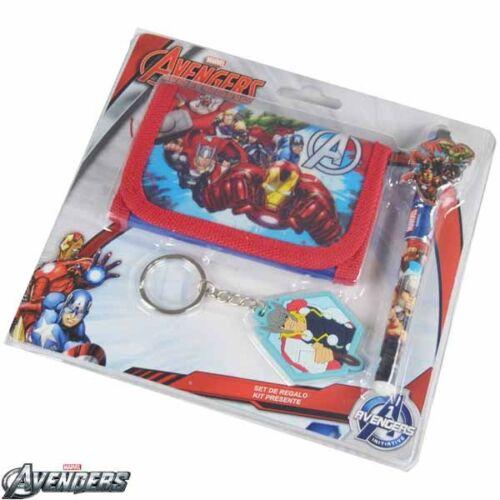 Portafoglio Con Penna e Portachiavi Marvel Avengers Kit Super Eroi Set Regalo