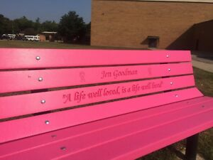 Phenomenal Details About Vibrant Pink Memorial Bench Plastic Lumber 50 Yr Life Short Links Chair Design For Home Short Linksinfo
