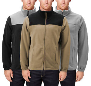 Men's Two Tone Warm Polar Fleece Full Zip-Up Collared  Solid Soft Sweater Jacket