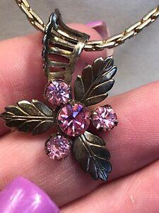Vintage-Gold-Necklace-1950-s-Prong-Set-Pink-Rhinestone-Flower-Leaf-Pendant-16