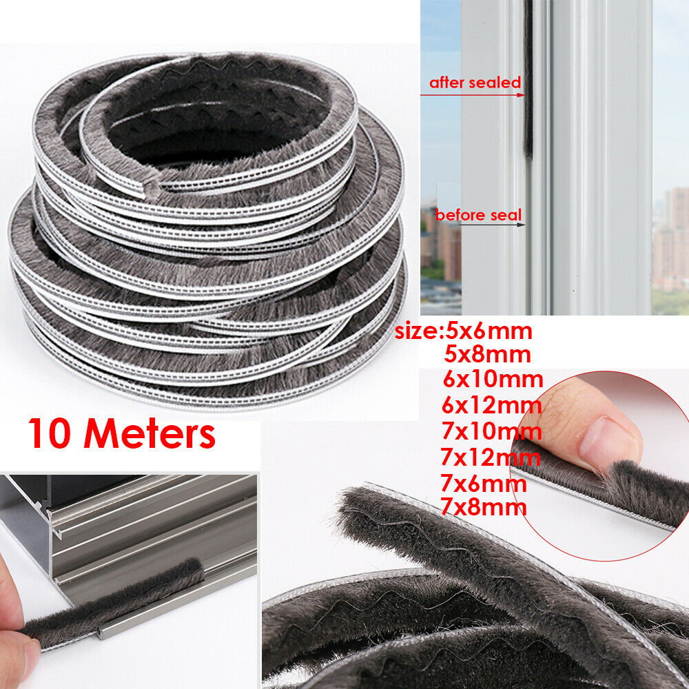 5mm X 6mm Sliding Door Window Draught Excluder Brush Pile Seal Weather Strip 10m