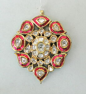 Vintage antique 20k gold diamond polki kundan enamel work pendant image is loading vintage antique 20k gold diamond polki kundan enamel mozeypictures Image collections