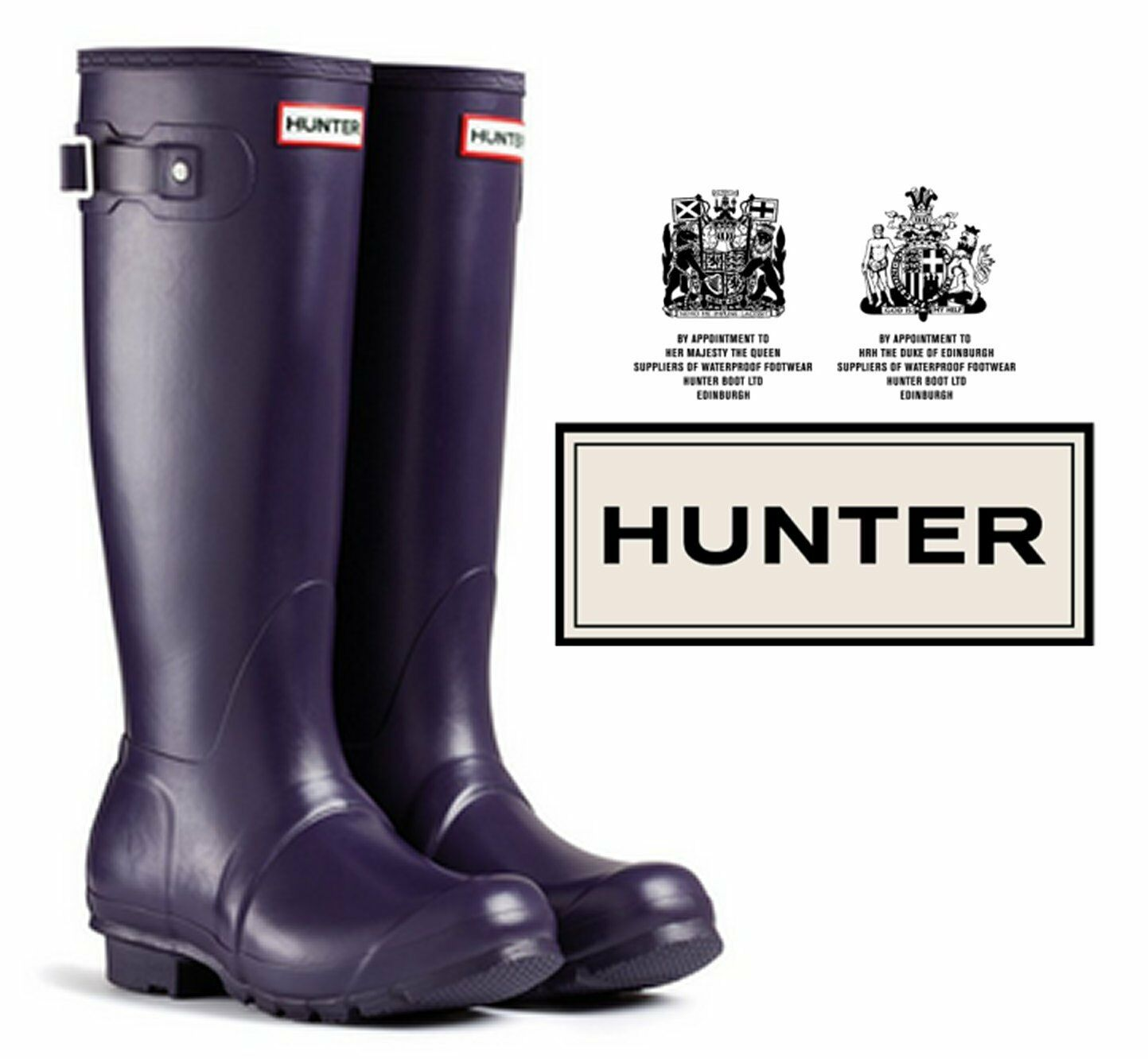 Hunter Original Tall Wellington-Unisex Adulto-Melanzana-Taglia 12