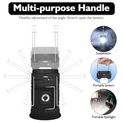 85000LM Solar LED Flashlight Camping Lantern USB Chargeable Emergency Lamp