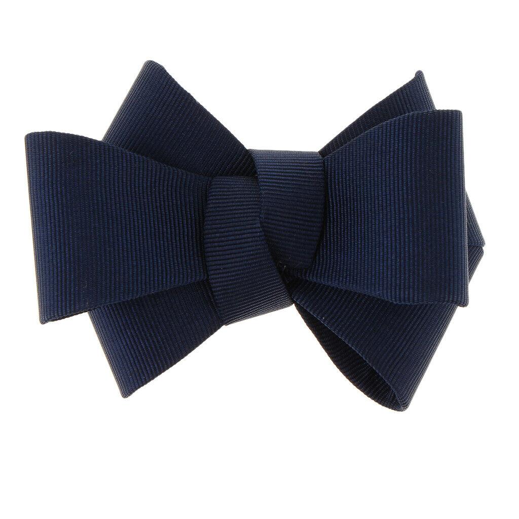 1x DIY Ribbon Bow Bowknot Shoe Clip Charm Buckle Removable Decoration Dark Blue