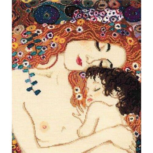 Klimt  Broderie  Point de Croix compté RIOLIS  916  Amour maternel d/'après  G