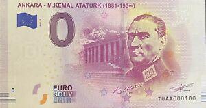 BILLET-0-EURO-ANKARA-M-KEMAL-ATATURK-2019-NUMERO-100