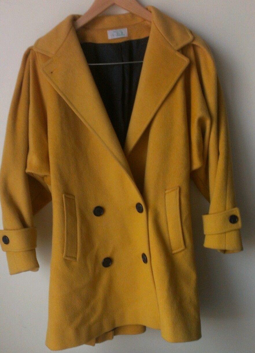 J Jill Peacoat  Women's 8  100% Wool  golden Yellow