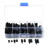 300pc M3 Nylon Black Hex Screw Nut Spacer Stand-off Varied Length Assortment Kit