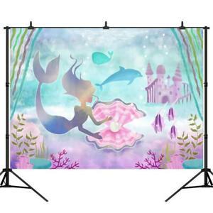 8x8FT Vinyl Photo Backdrops,Underwater,Mermaid Different Poses Photoshoot Props Photo Background Studio Prop