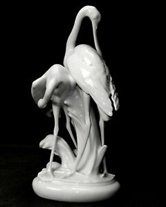 Herend-Porzellanfigur-5190-034-Zwei-Loeffelreiher-034-weiss-Janos-Toth