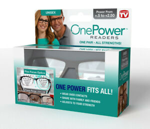 ONE POWER READERS Power +.5 To +2.50 As Seen On TV Flex Focus Optics New In Box