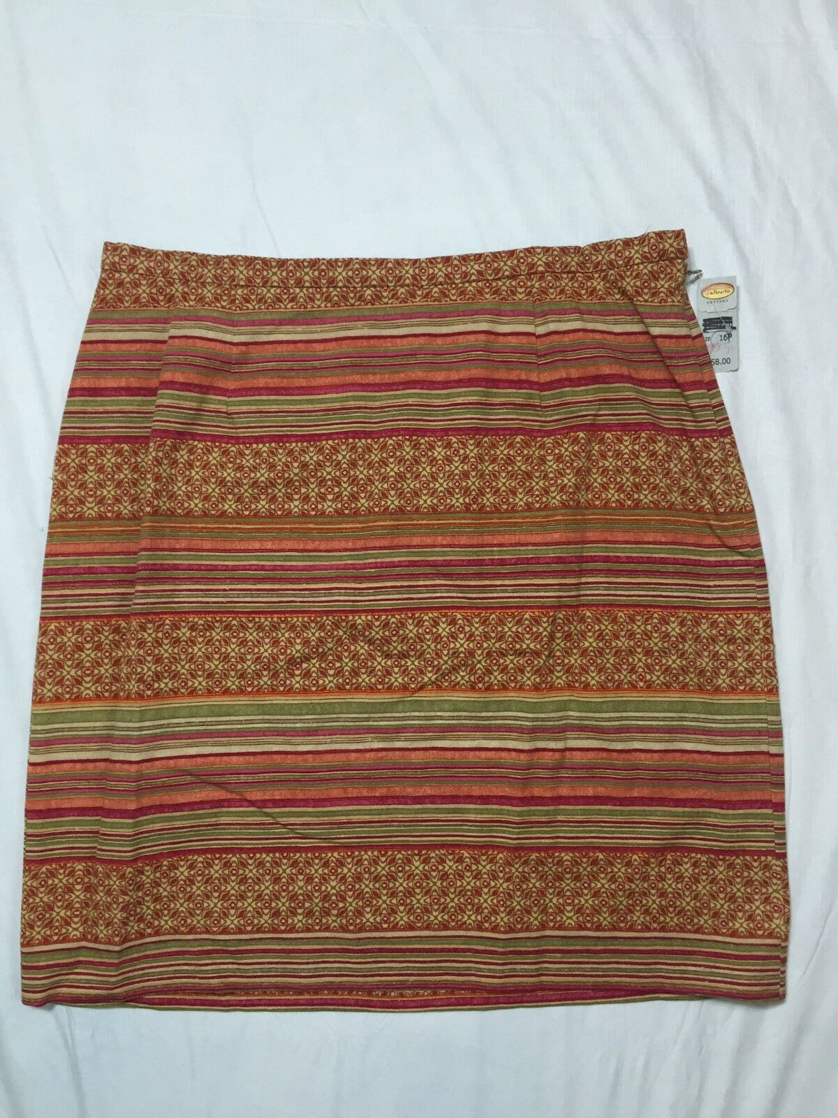 Talbots Petites Size 16P A Line Skirt Multi color Side Zip Cotton Stretch NWT